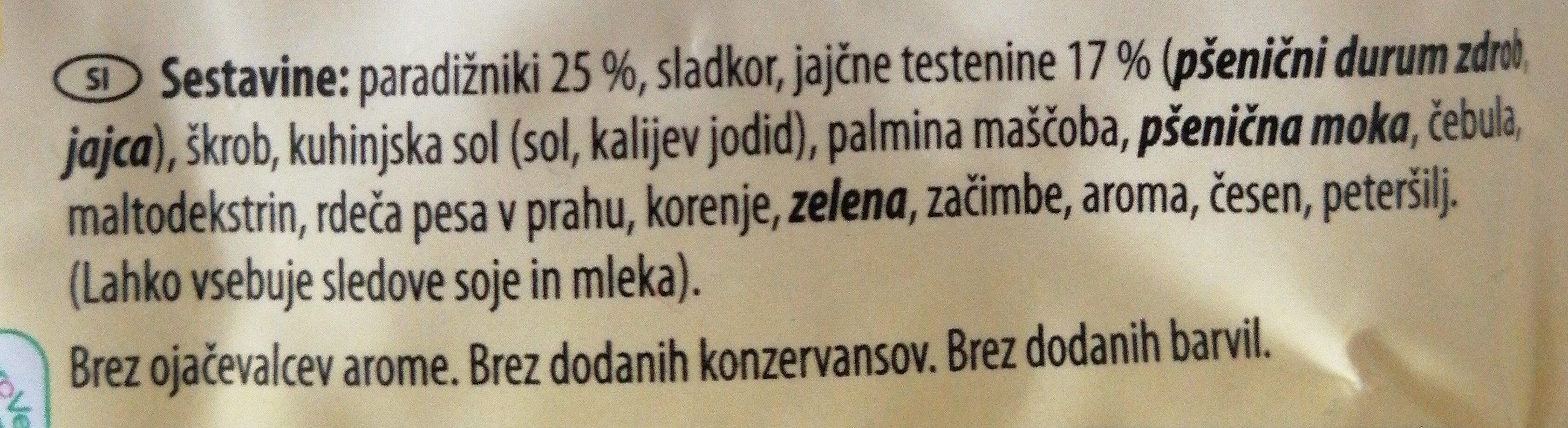 Paradižnikova juha s testeninami - Ingredients