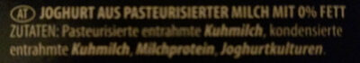 Original Griechisches Joghurt Natur 0% Fett - Ingrédients - de