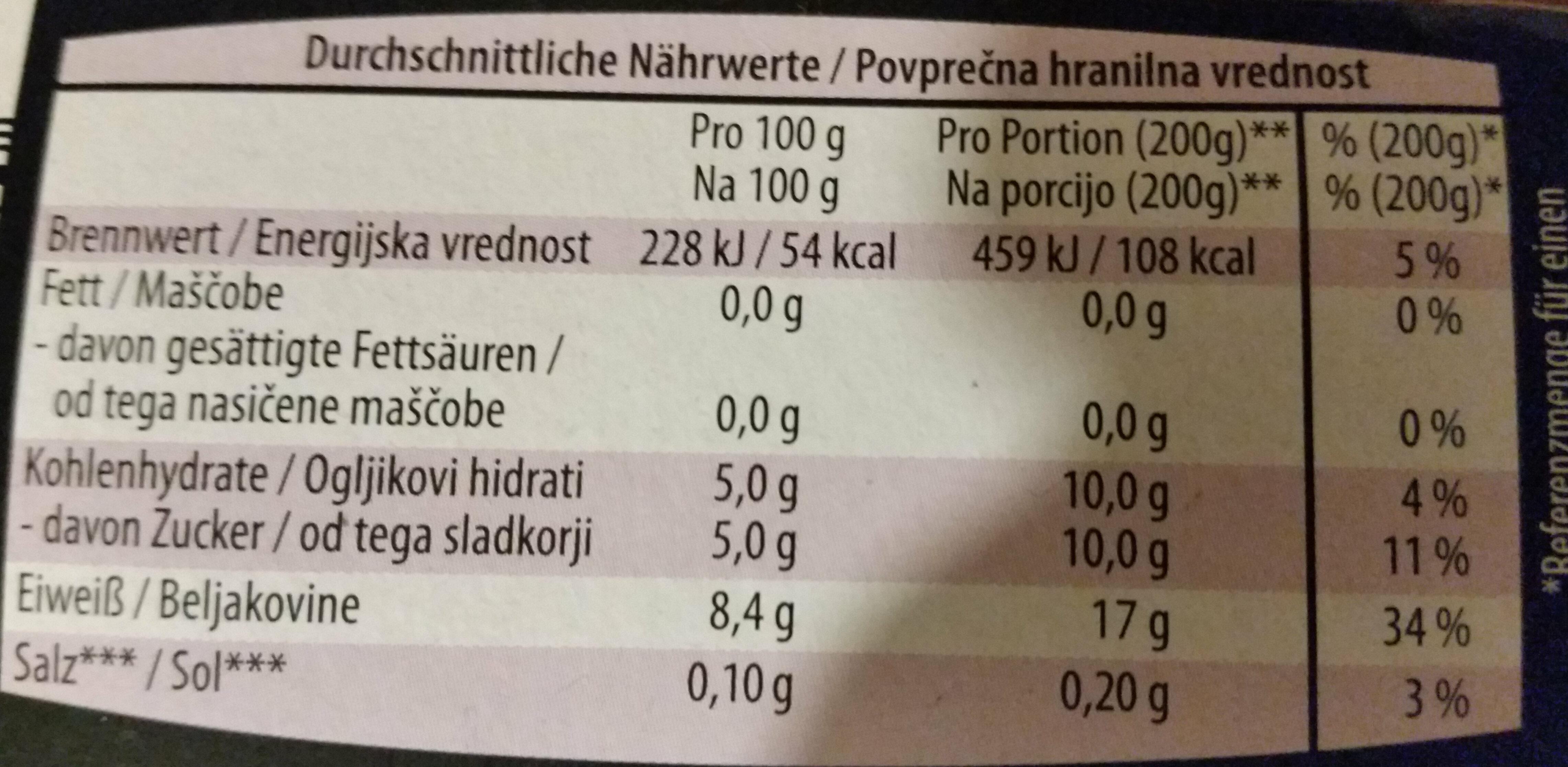 Original Griechisches Joghurt Natur 0% Fett - Informations nutritionnelles - de