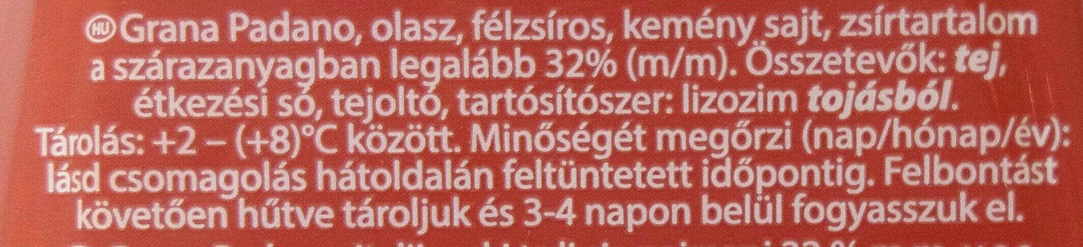 Grana Padano - Ingredients - hu