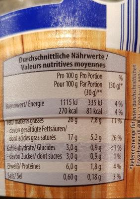 Frischkäse-Fass - Informação nutricional - fr