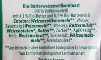 Vollkorn-Buttertoast - Ingredients - de