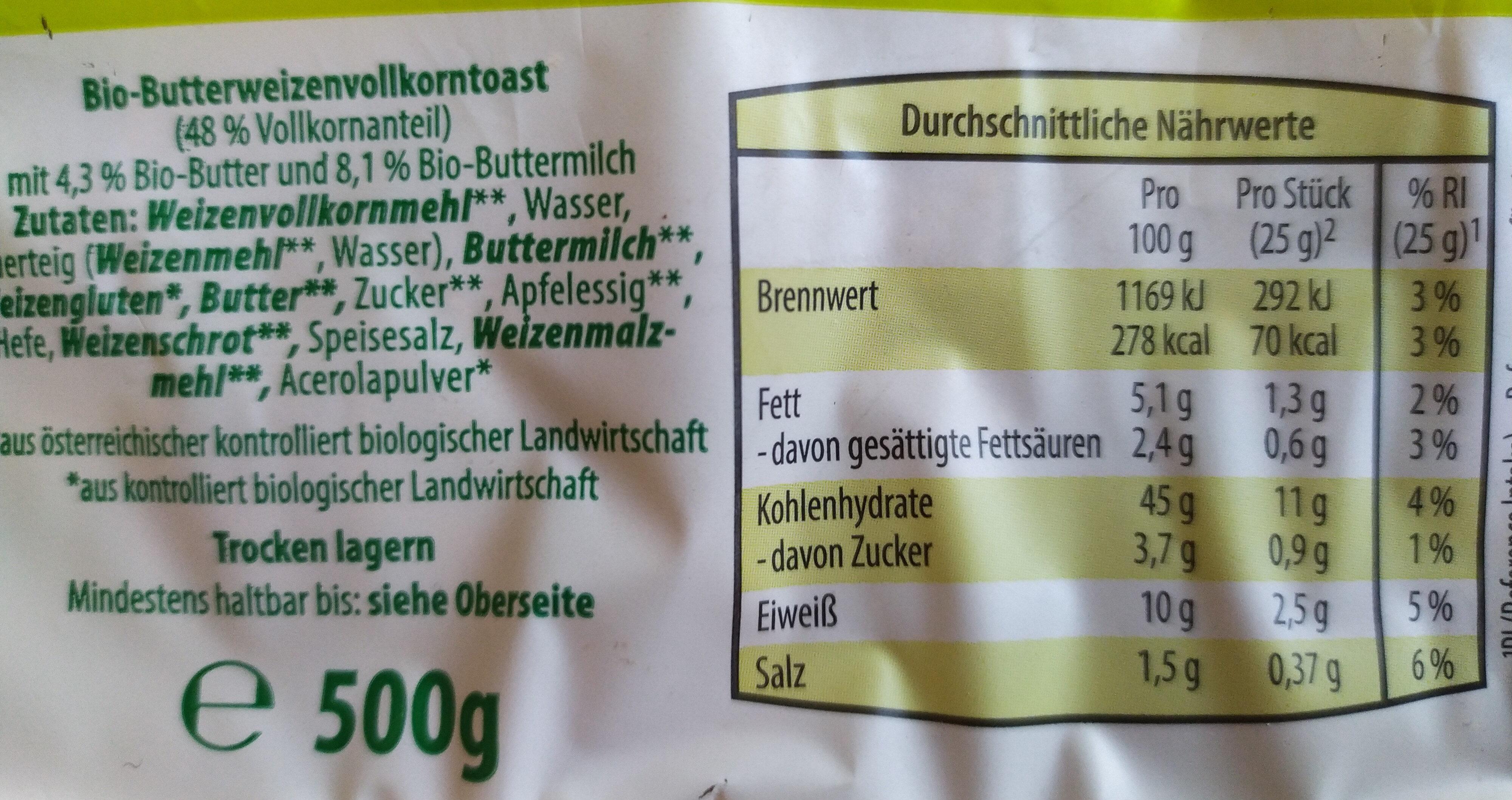 Vollkorn-Buttertoast - Ingredients