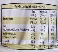 Vollkorn-Buttertoast - Nutrition facts - de