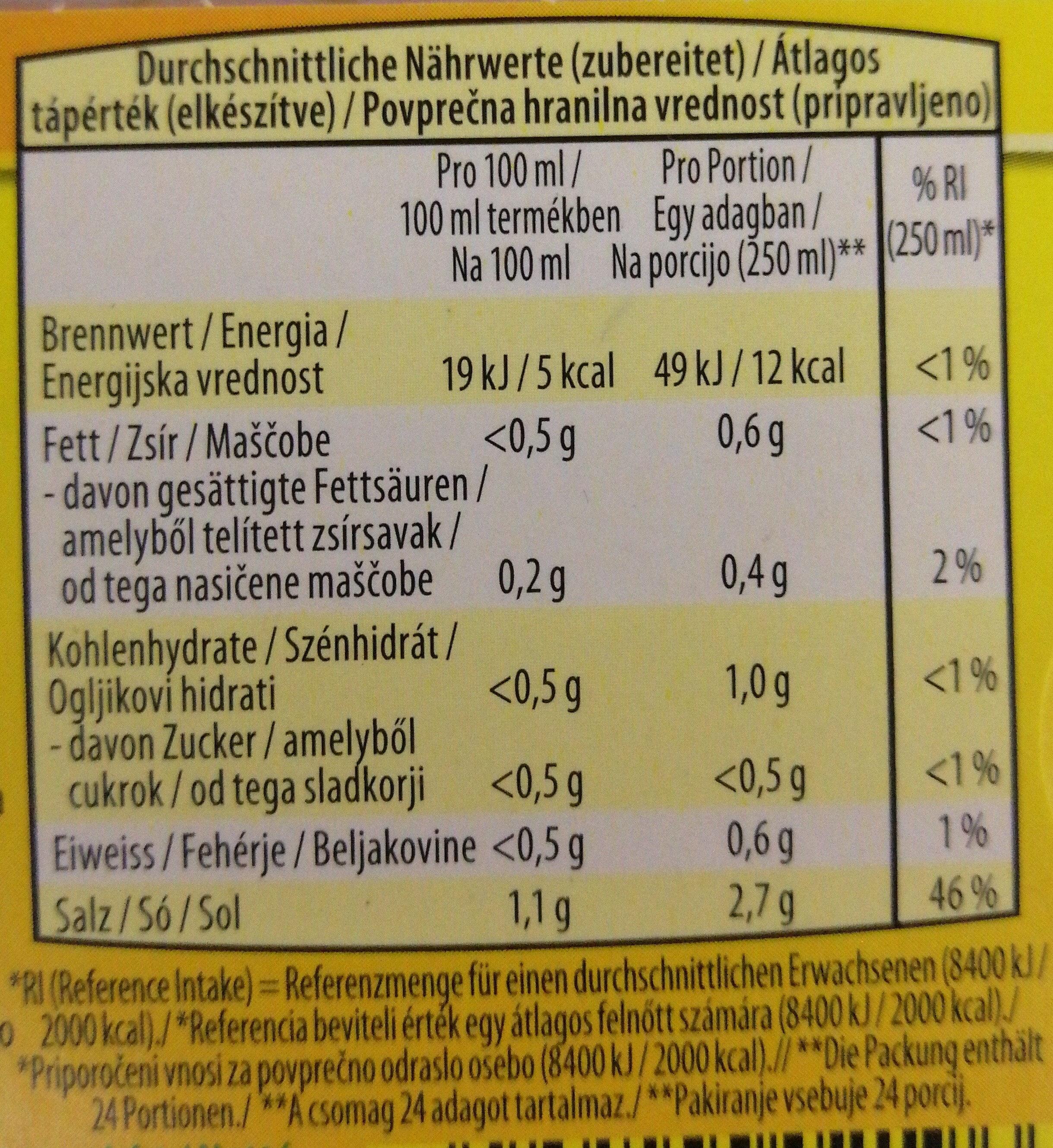 Koncentrat za govejo bistro juho - Informação nutricional - sl