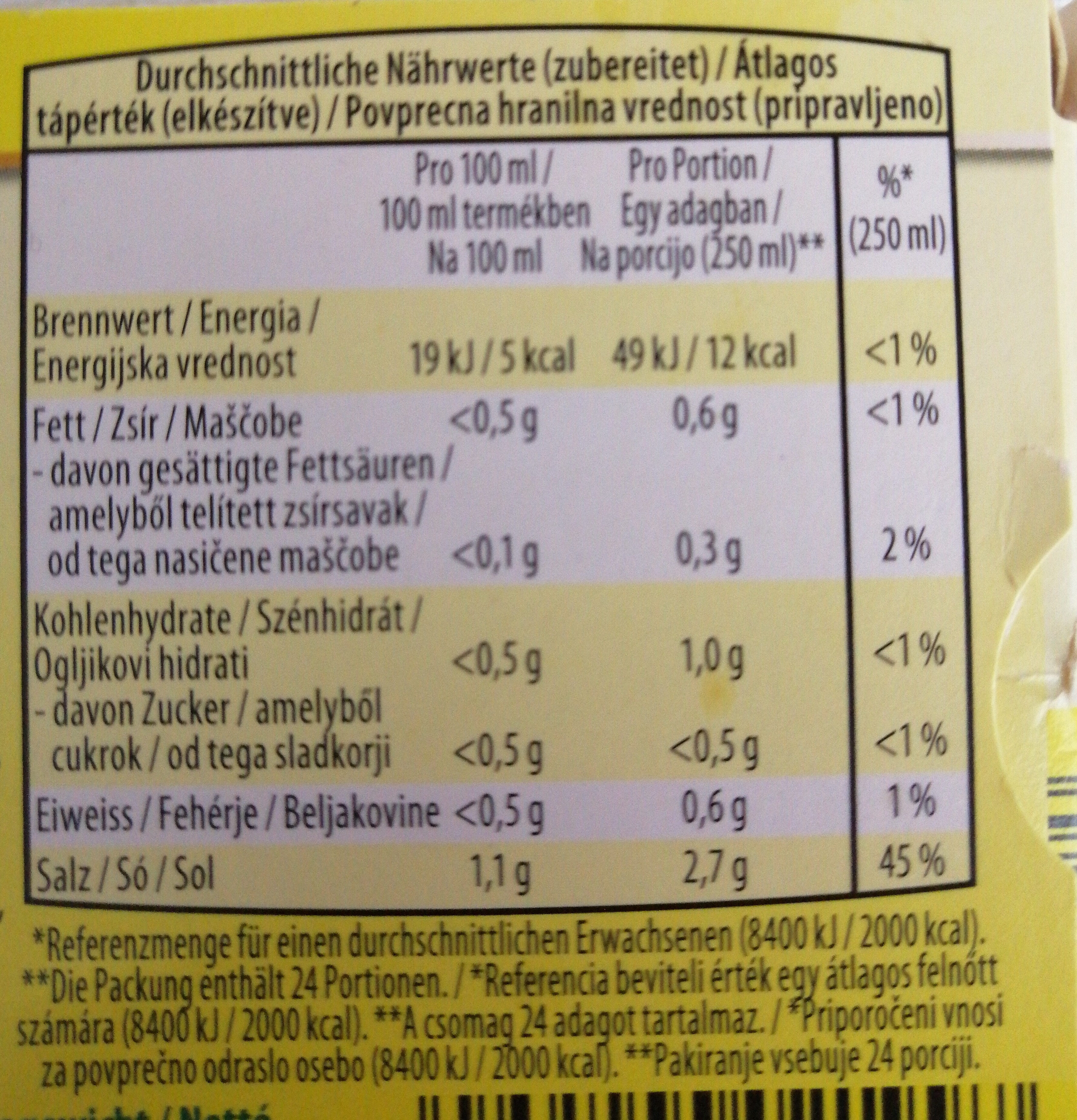 Koncentrat za kokošjo bistro juho - Nutrition facts