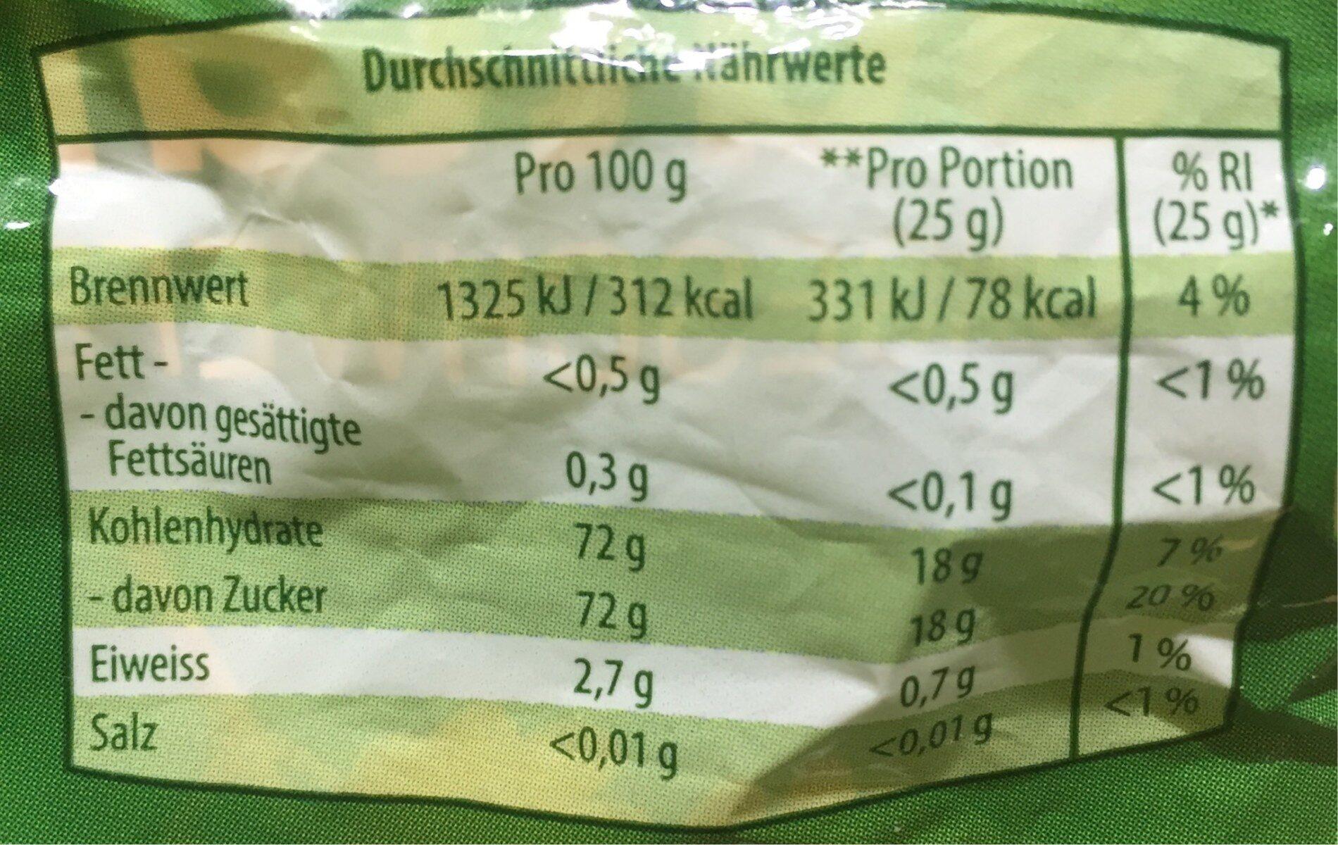 Sultaninen - Informations nutritionnelles - es
