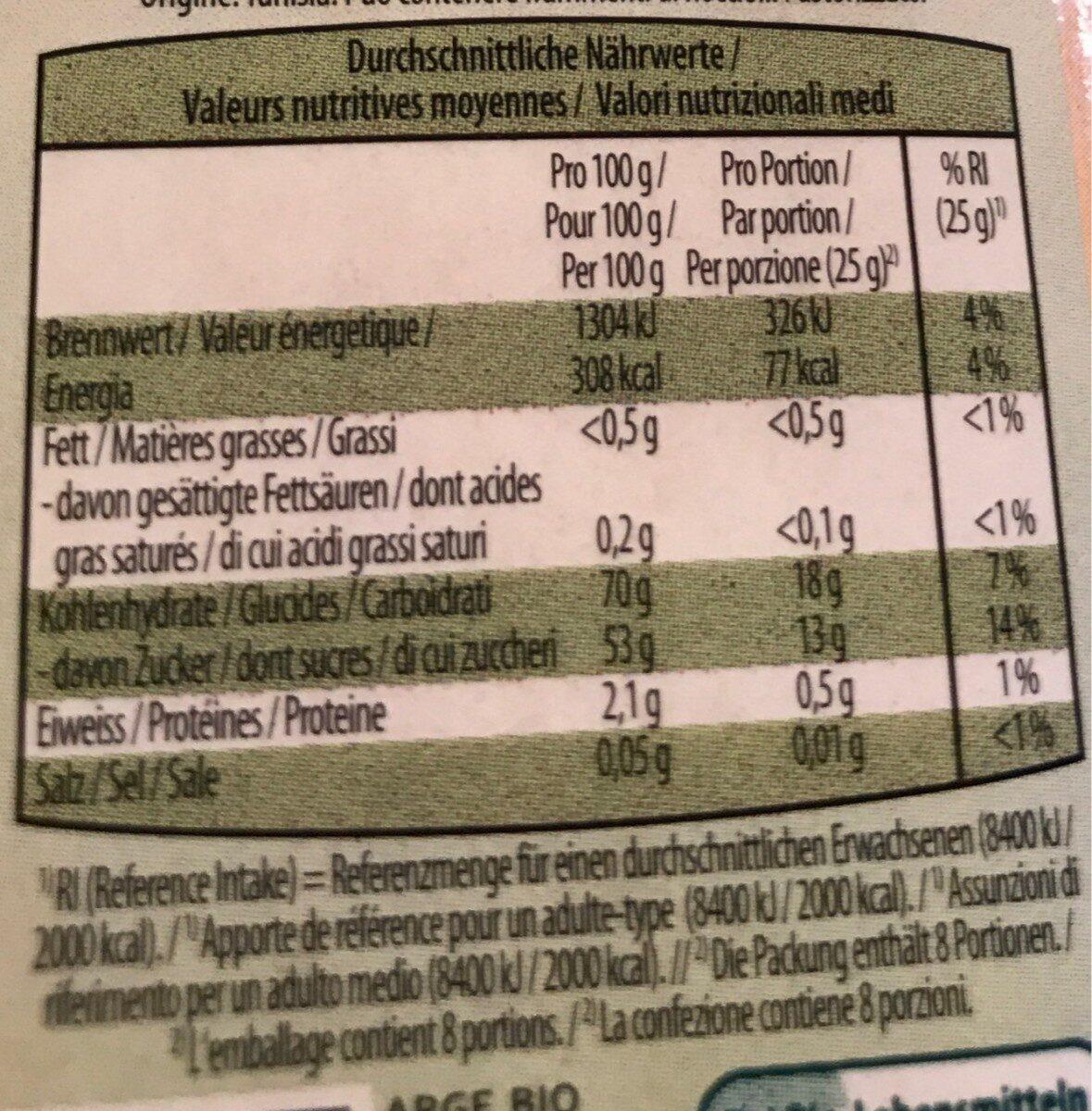 Dattes bio - Valori nutrizionali - fr