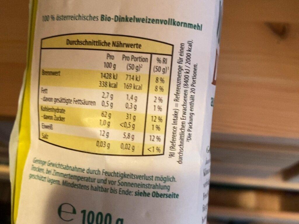 Vollkorn Dinkel Mehl - Nutrition facts - de