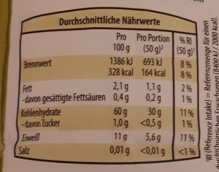 Vollkorn Weizen Mehl - Nutrition facts - de