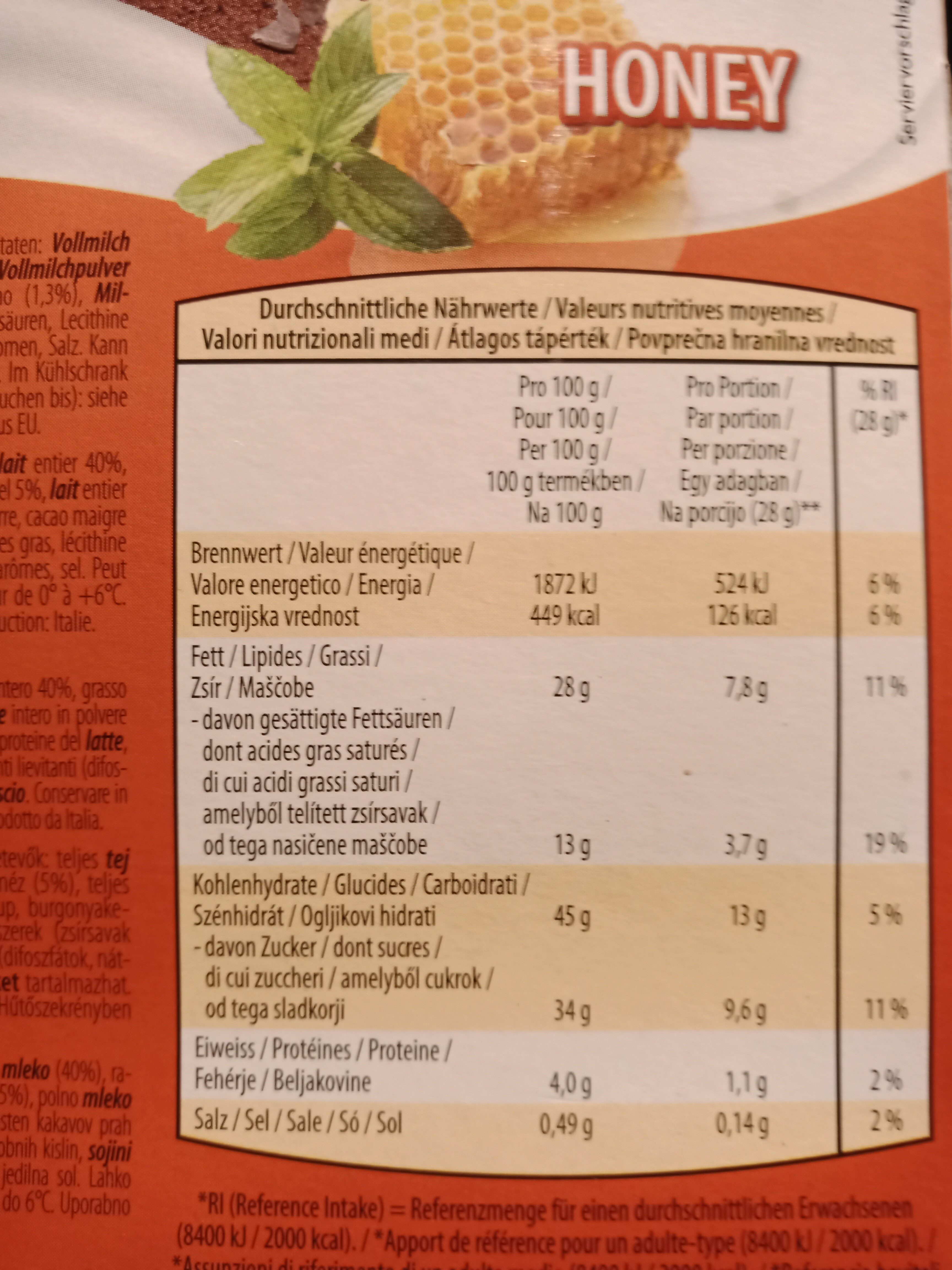 Milk snak honey - Ingredients - fr