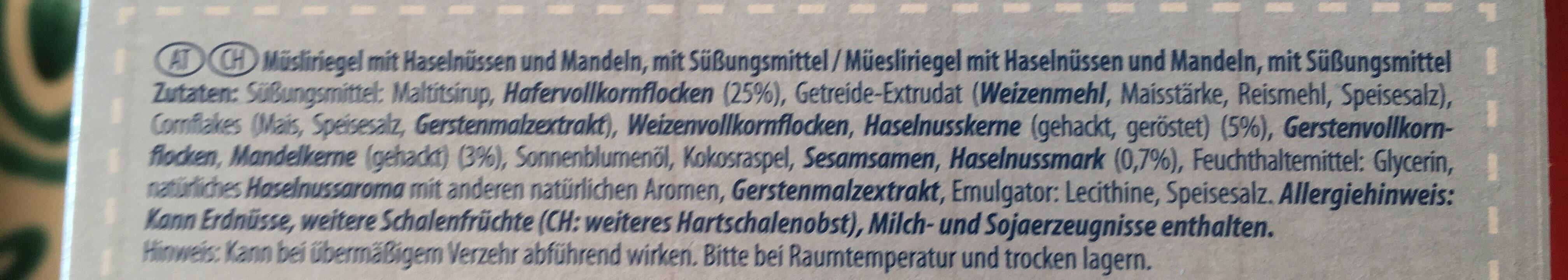 Müsli Riegel - Ingredients - de