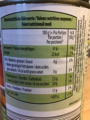 Tomates bio pelees - Nutrition facts - fr