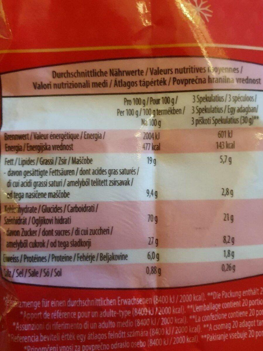 Spéculoos aux épices - Informations nutritionnelles - fr