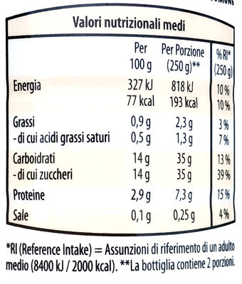 Yogurt da bere alla frutta. - Voedingswaarden - it