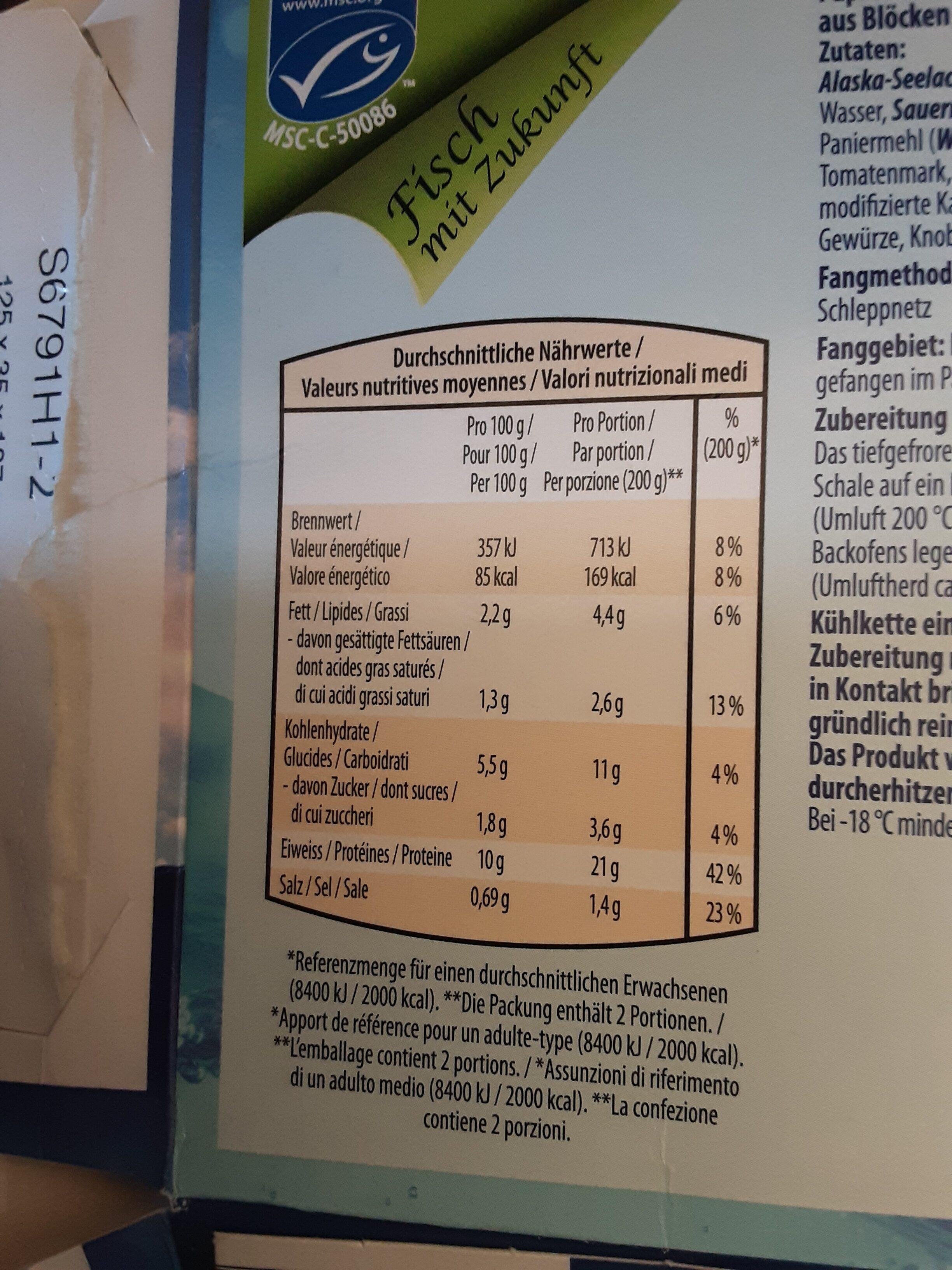 Filet de poisson au four à  l'italienne - Voedingswaarden - fr