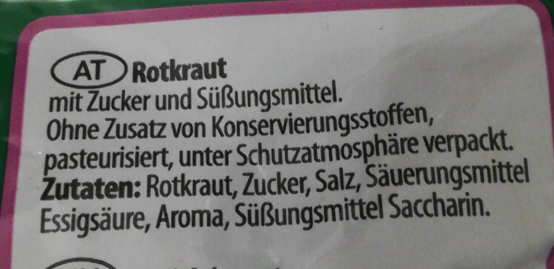Rotkraut, essfertig - Ingrédients - de