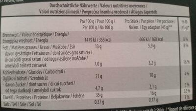 Proteinriegel kohlenhydratreduziert Cookies&Cream - Nutrition facts