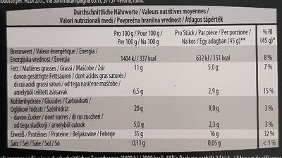 Protein riegel - Nutrition facts - de