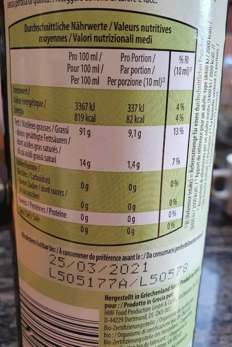 Huile d'olive extra vierge bio, native grecque - Valori nutrizionali - fr
