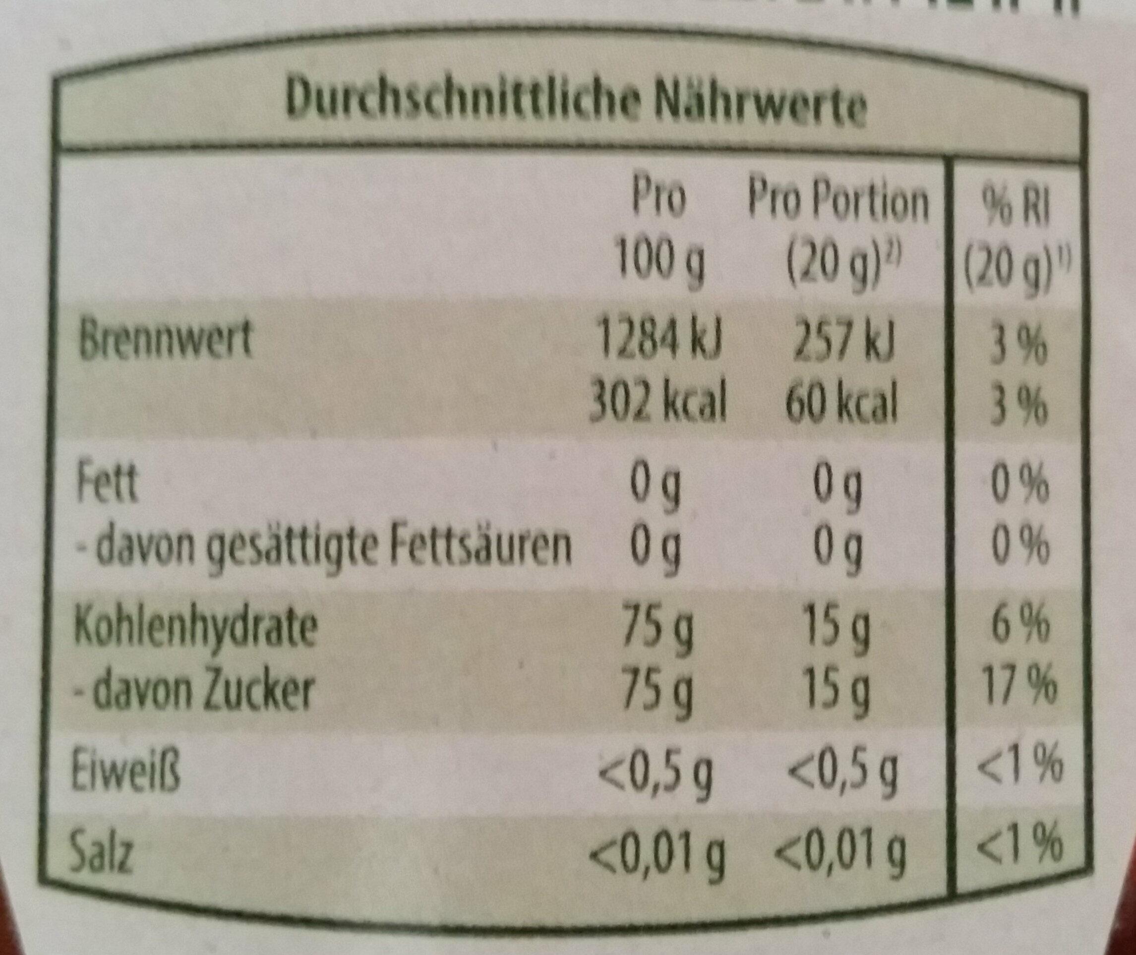 Bio Blütenhonig - Voedingswaarden
