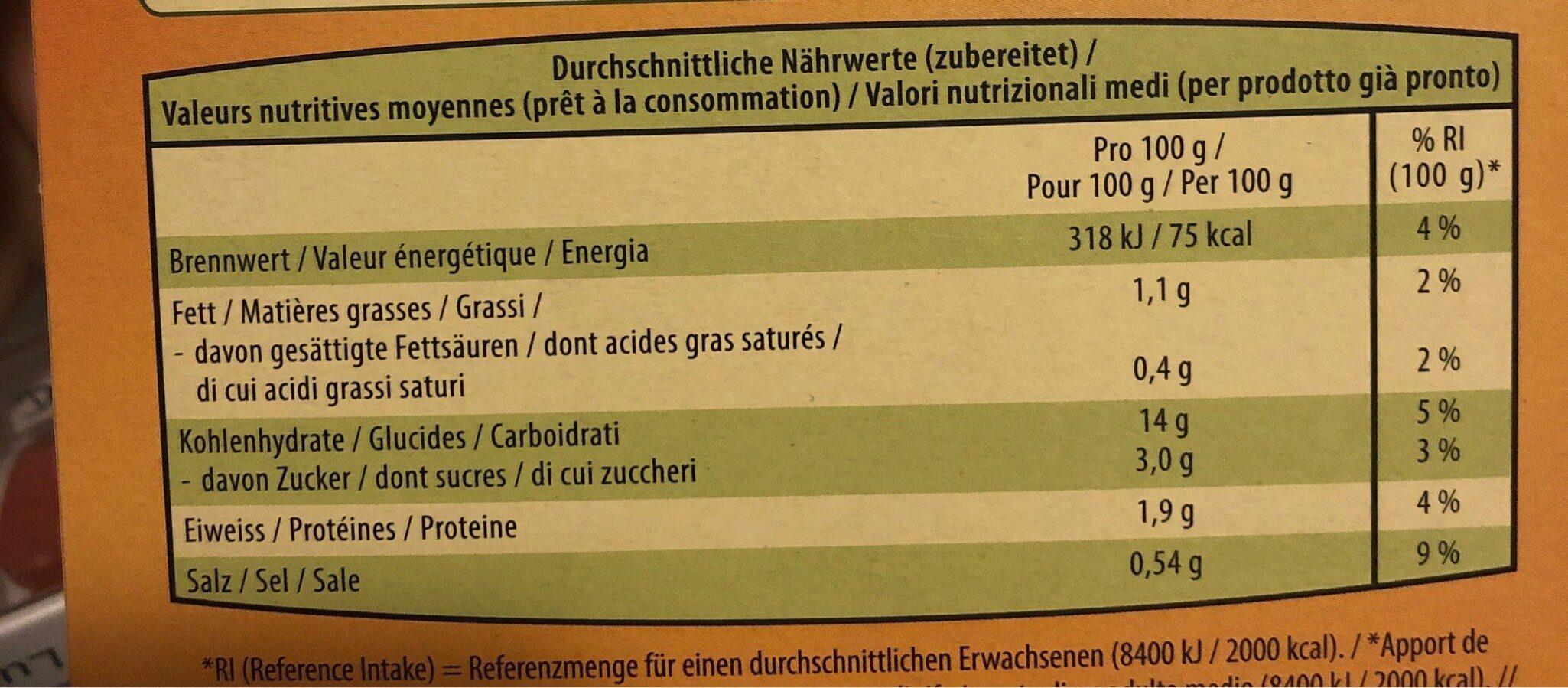 Kartoffel puree - Valori nutrizionali - fr