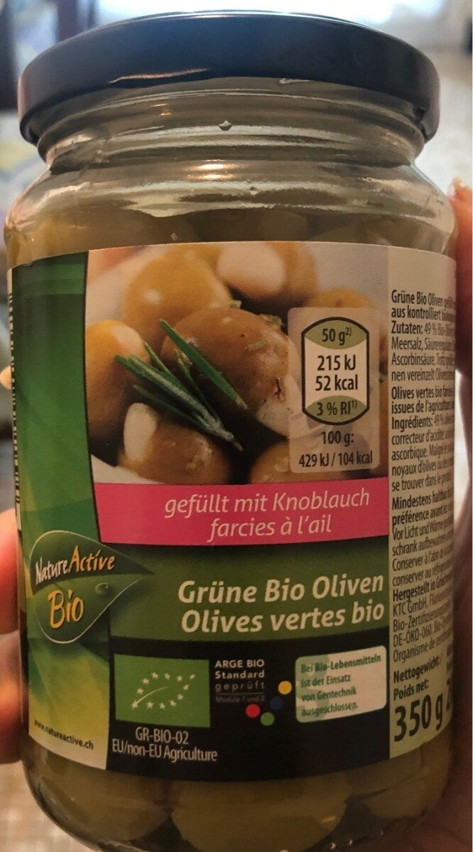 Olives vertes bio farcies à l'ail - Product