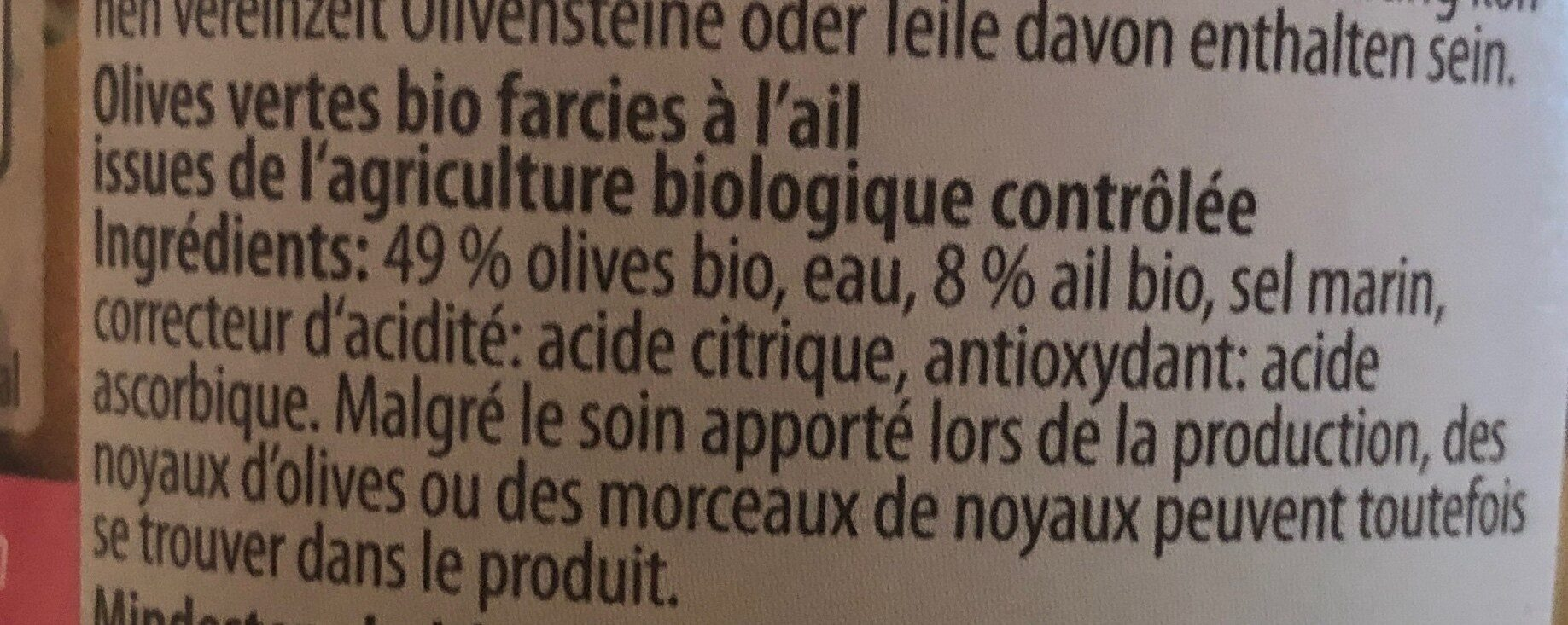 Olives vertes bio farcies à l'ail - Ingredients
