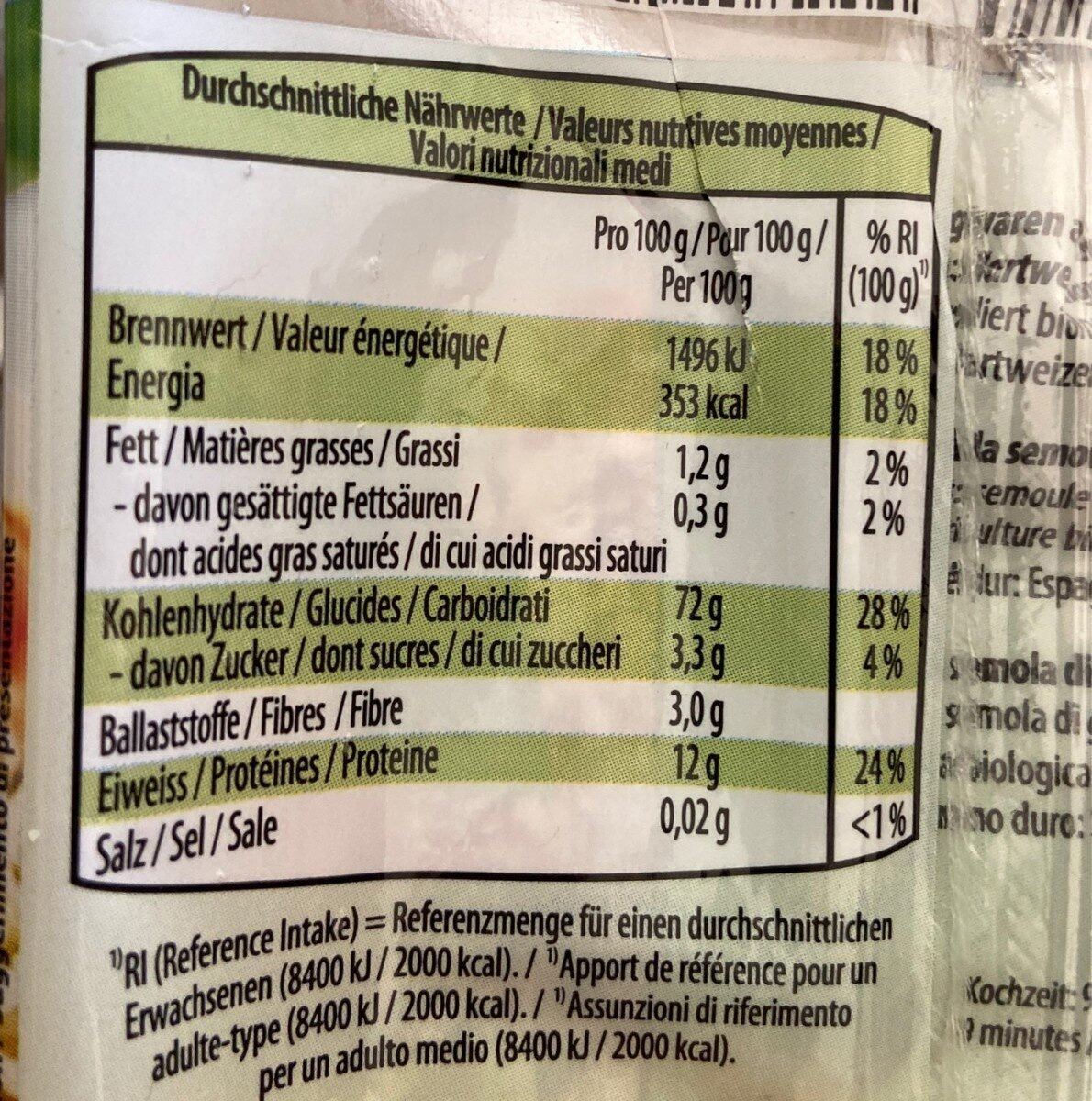 Spaghetti bio - Informations nutritionnelles - fr