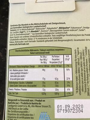 Amandes bio grillées - Nutrition facts