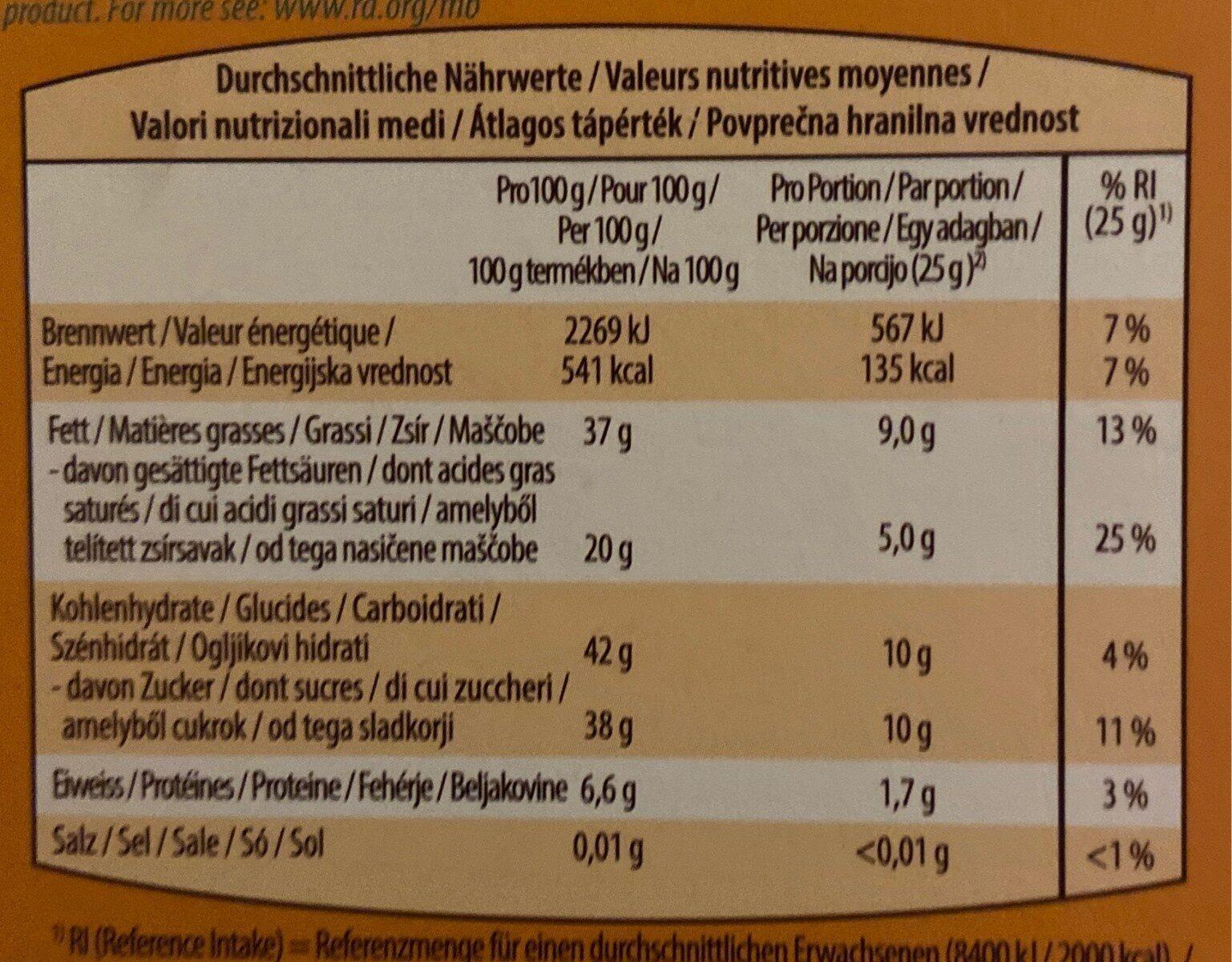 Apricot&Hazenuts - Valori nutrizionali - fr