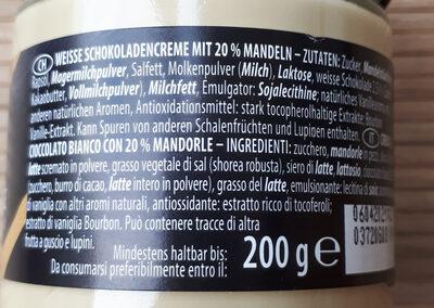 Crème blanche à l'amande - Ingrédients - fr