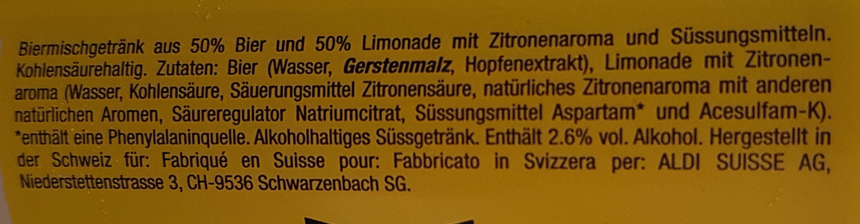 Panache bière - Ingredients - en