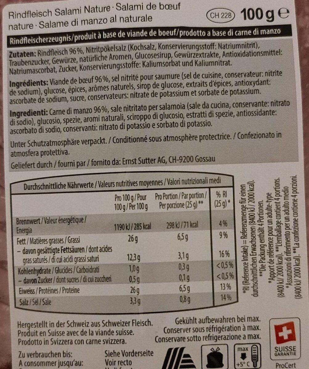 Salami de boeuf nature - Informations nutritionnelles - fr