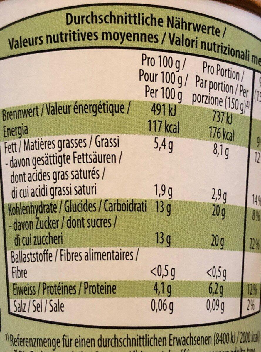 Yogourt nousette bio - Nutrition facts