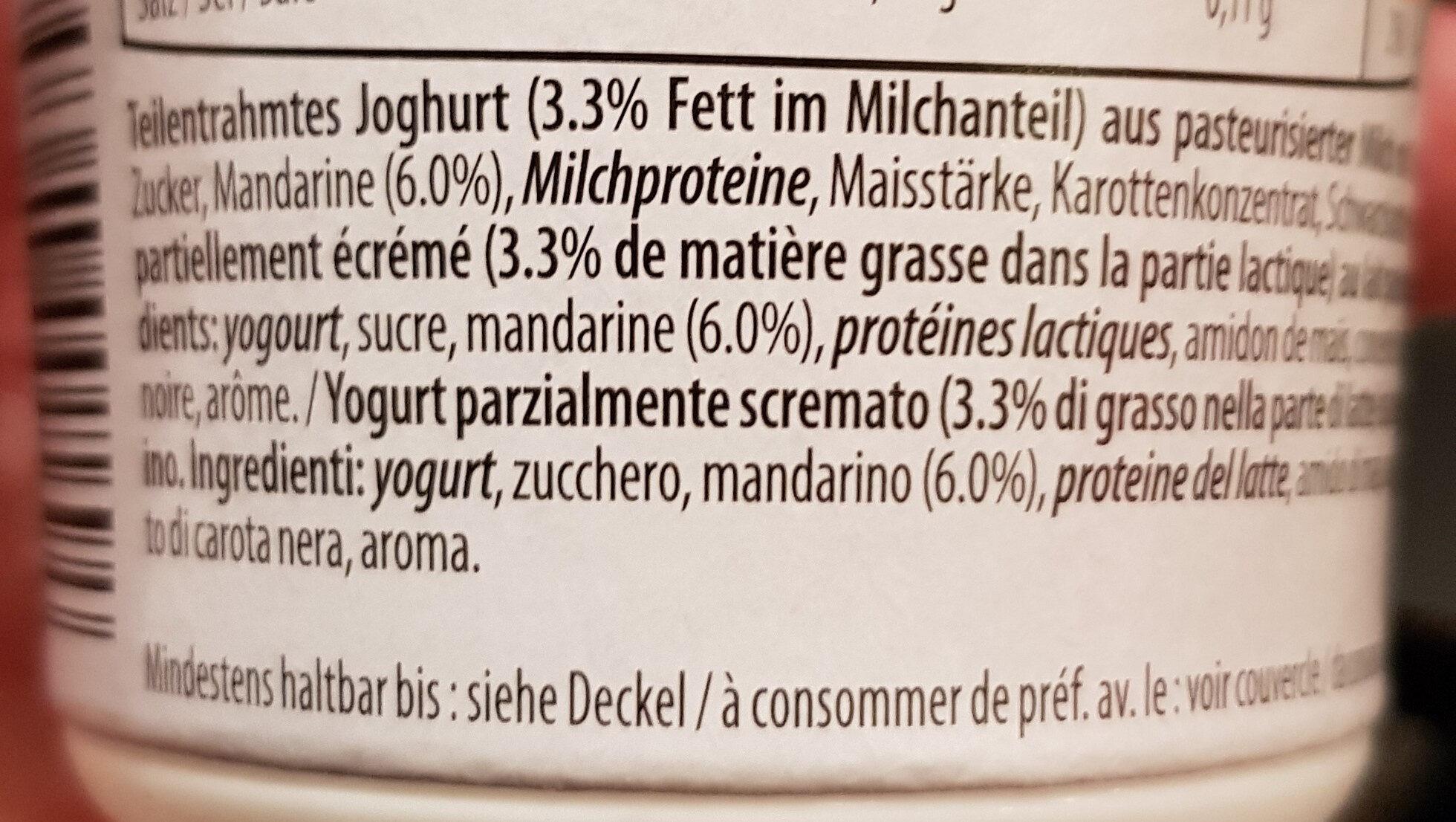 Joghurt Mandarine Mandarino - Ingredientes - fr