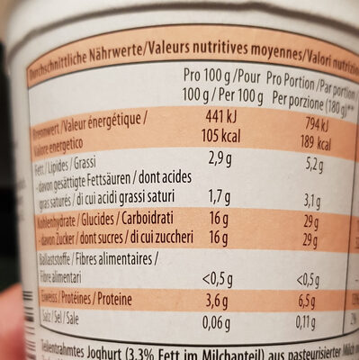 Joghurt Mandarine Mandarino - Nutrition facts - fr