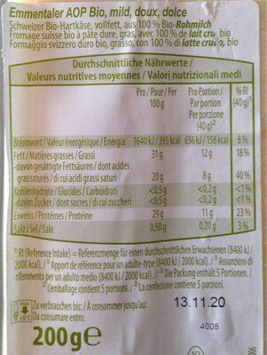 Emmentaler AOP Bio - Informazioni nutrizionali - de