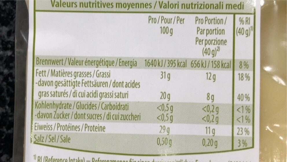 Emmantaler - Valori nutrizionali - de