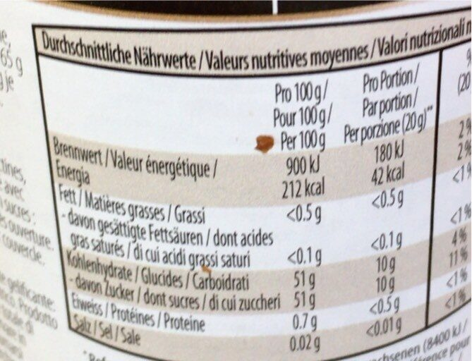 Orangen - Nutrition facts - en