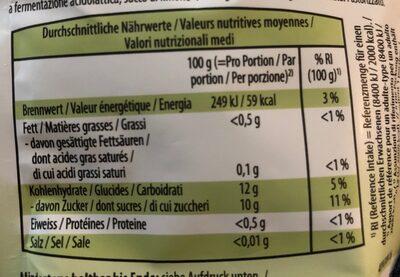 Snack bio aux fruits et legumes - Nutrition facts