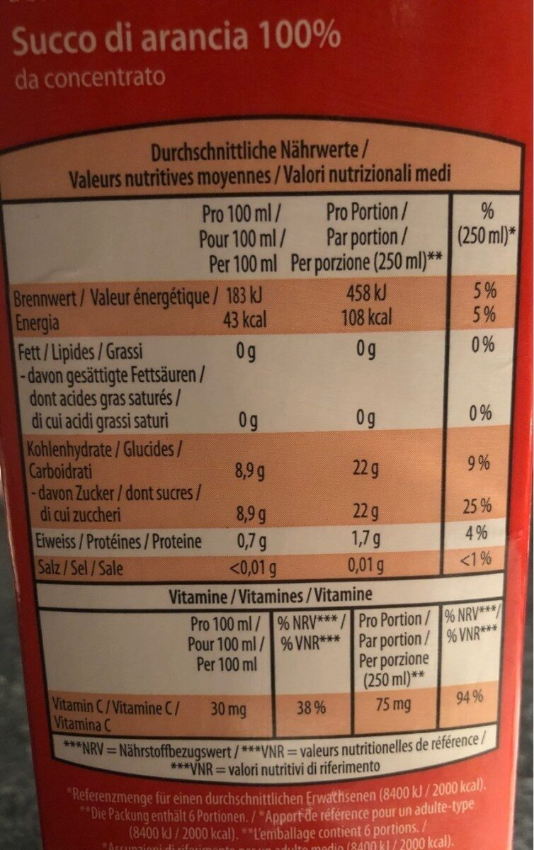 Jus d'orange à base de concentré - Valori nutrizionali - fr
