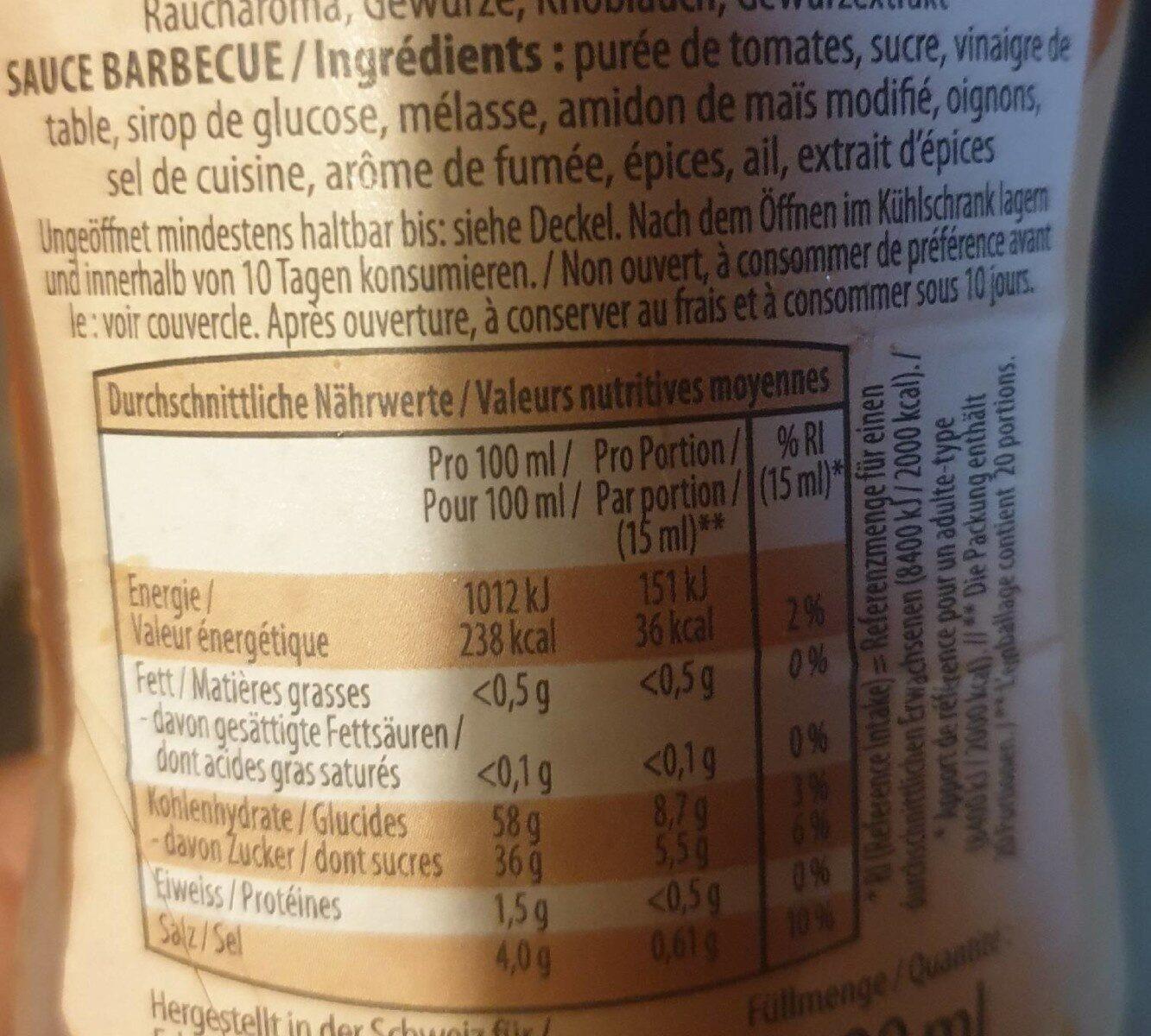 Barbecue Sauce - Valori nutrizionali - fr