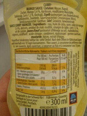 Curry-Mango Sauce - Valori nutrizionali - fr