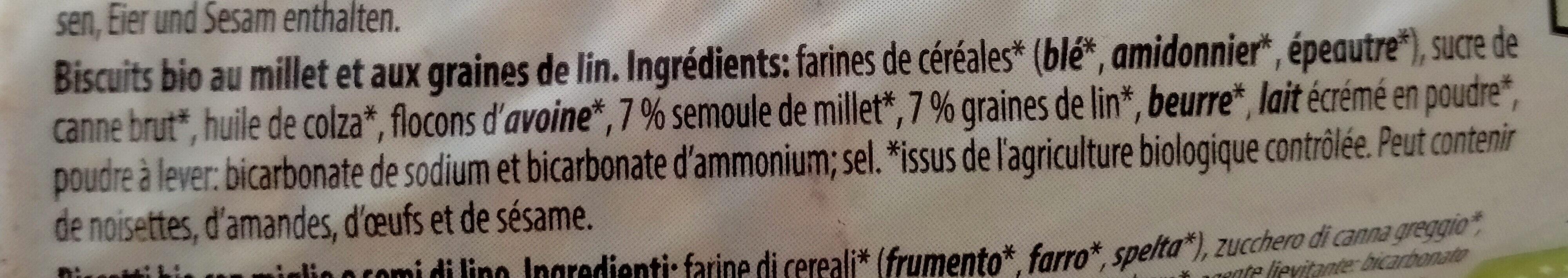 Biscuit Bio avec millet et graines de lin - Ingredients - fr