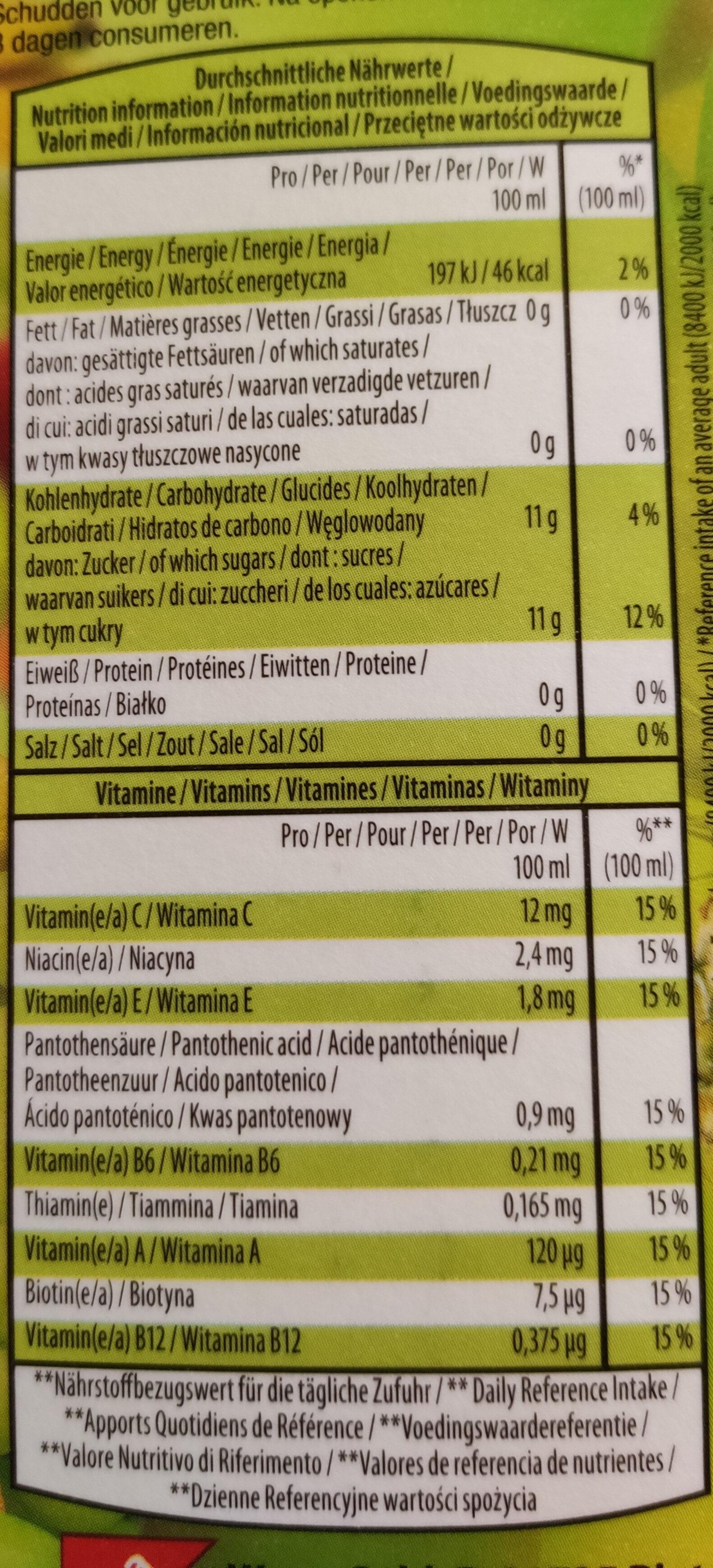 Multicutamun 12 fruits - Voedingswaarden - de