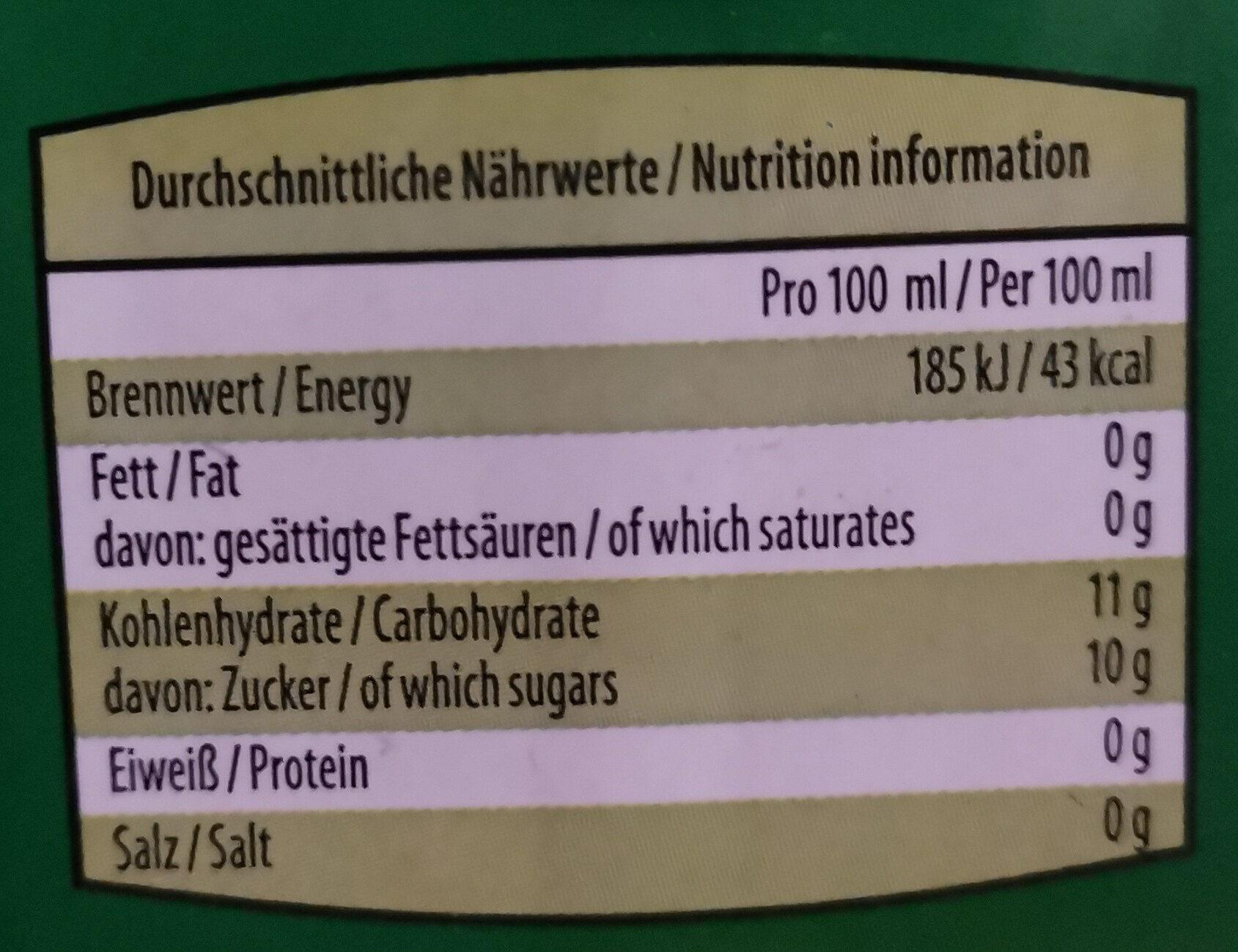 Durstlöscher Waldmeister-Geschmack - Nährwertangaben - de