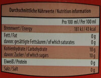Durstlöscher Granatapfel-Zitronen-Geschmack - Nutrition facts - de