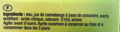 Boisson rafraichissante à la canneberge - Ingredientes
