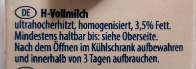 Muh H-Vollmilch - 成分 - de